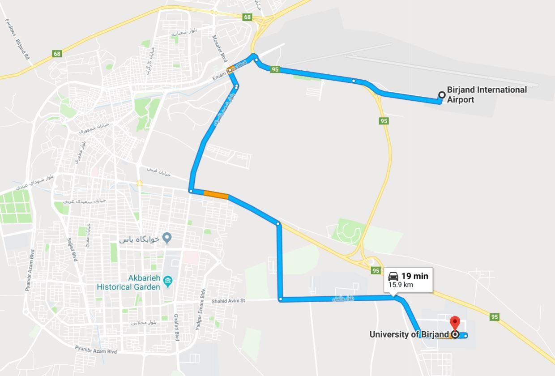 Direction from Birjand International Airport to University of Birjand